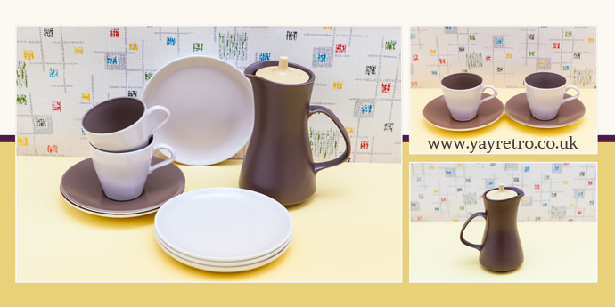 Sepia, Mushroom, Brazil Nut and Sweetcorn Poole Pottery, cus, sacuers, plates, hot water jug, teapot for sale at yay retro! online china replacement