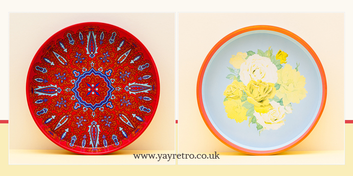 1970s metal flower power tin trays from yay retro!