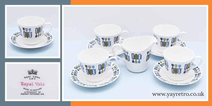 Royal Vale Abstract Design tea set from yay retro! online china replacement and collectible shop
