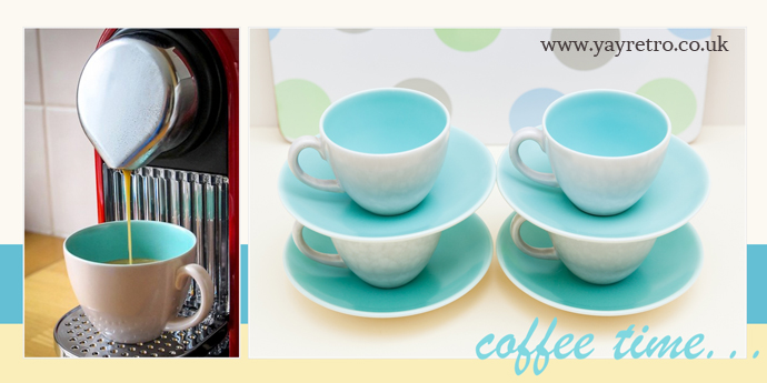 Vintage coffee cups from yay retro! for sale online, these are Poole pottery cups photographed with a nespresso coffee maker