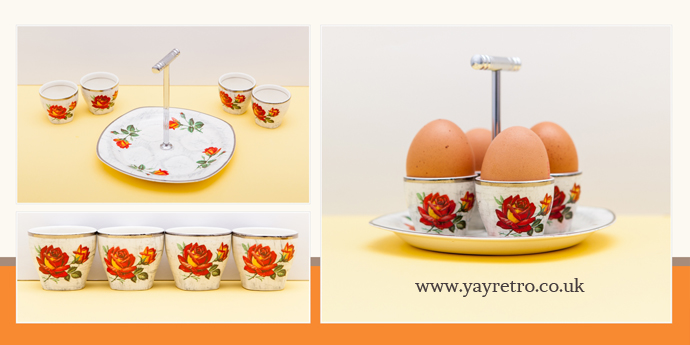 Stylecraft Midwinter Egg Cups and Holder for sake from yay retro! online vintage china shop for retro collectors from 40s,50s, 60s, 70s