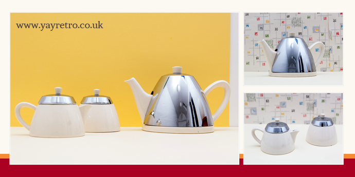 Heatmaster Teapot, jus and sugar bowl set for sale with chrome lids from yay retro! online vintage china shop