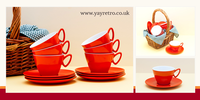 Gaydon Melmex melamine picnic cups and saucers, orange for camper vans, picnics, campers, kitchens 1960s from yay retro!