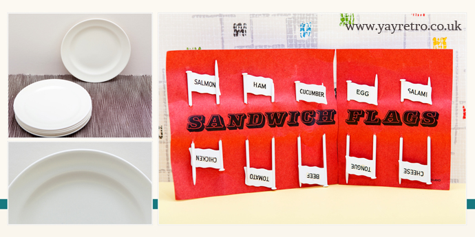 Poole magnolia tea plates and retro vintage 70s sandwich flags from yay retro!