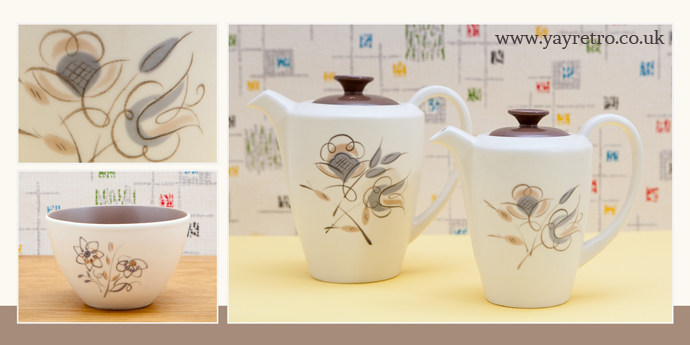 Poole Pottery Twintone Coffee Jugs  in yellow and seagull and Trudiana Sepia and Mushroom from yay retro!