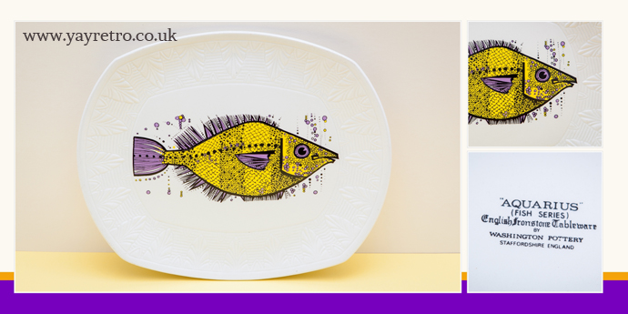 yay retro! sell vintage china for your home, this is an aquarius fish plate from washington potteries