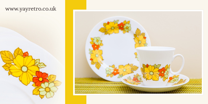 Royal Grafton yellow and orange floral tea set from yay retro! online china replacement and vintage collectors site