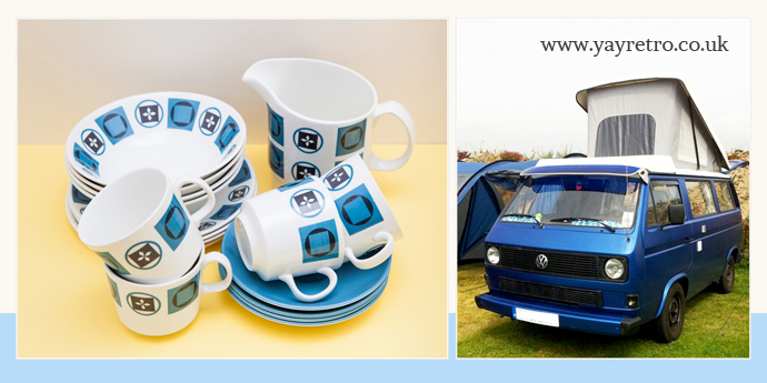 yay retro! sell classic camper van vintage tea sets, cups and saucers online