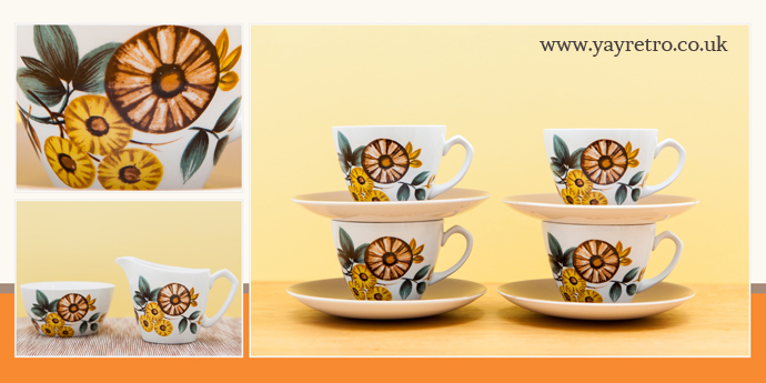 yay retro! sell Poole and Meakin Pottery, we also sell mismatch sets of retro and vintage china