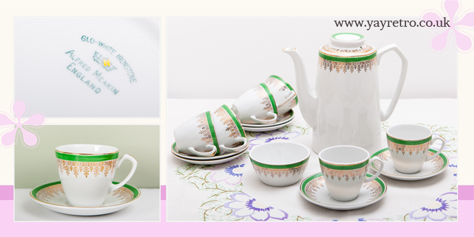 yay retro! sell Alfred Meakin vintage china including this green and gold ironstone coffee set