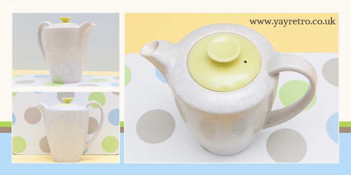 sunshine yellow and seagull coffee pot for sale at yay retro online vintage china and replacement shop