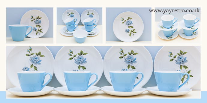 Johnson Bros blue pastel rose teaset from 1950s from yay retro! online shop for vintage tea cups and saucers and tea sets