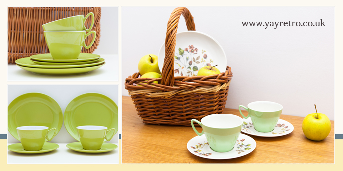 Gaydon Melamine in Turquoise, Lime Green, Orange, Pastel Green from yay retro! online vintage shop