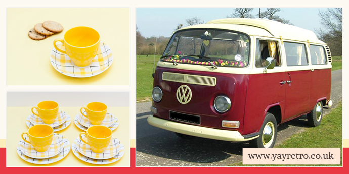 Custard Camper Van hire Chelmsford recommend yay retro! vintage cups, saucers and china tea sets