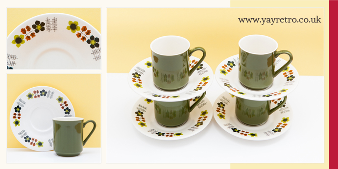 yay retro! sell vintage coffee sets such as this green one from Lord Nelson Pottery in England