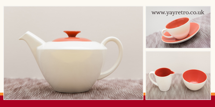 Poole Pottery red indian teapot for sale in perfect condition at yay retro! online vintage china shop