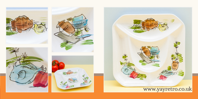 vintage 50s serving and hors d'oeuvres dish from yay retro! online china shop, perfect for vintage cheese and wine evening