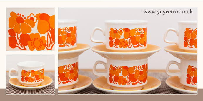 funky retro 1970s Staffordshire teaset from yay retro! online shop