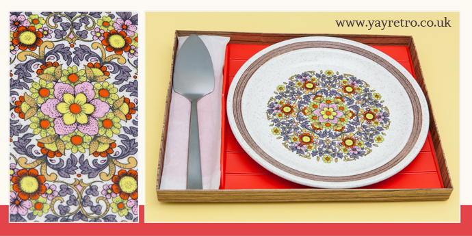 Palissy 1970 cake plate in gift box with serving knife, from yay retro! online vintage shop