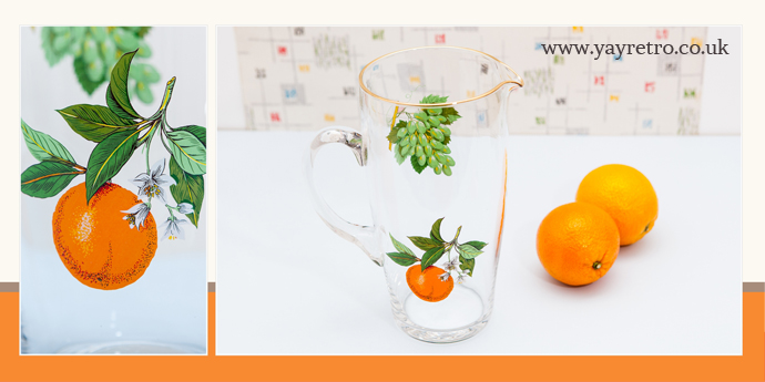 Vintage 1950s glass Pitcher jug with orange design from yay retro! online china shop