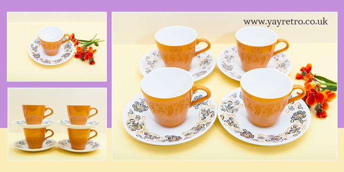 Poole Pottery Desert Song cups and saucers set from yay retro! online shop