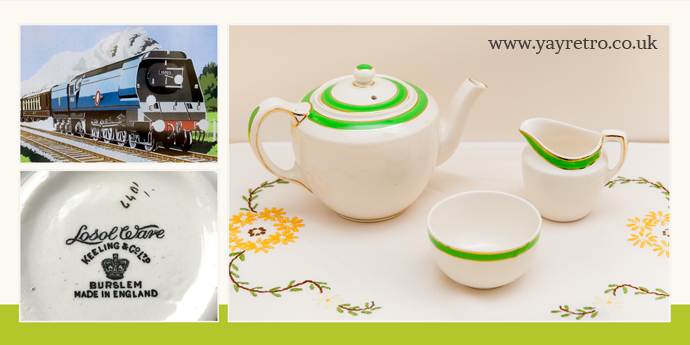 LosolWare Teapot, jug and sugar bowl for one, with green and gold stripe from yay retro! online vintage china shop