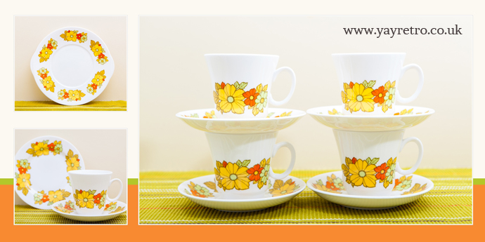 Royal Grafton Fine Bone China Tea set in yellow and orange from yay retro! online vintage china shop