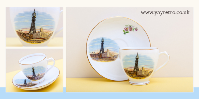 Souvenir Cup and Saucer from Blackpool in Royaltry fine bone china from yay retro! online vintage collectible china and replacement china