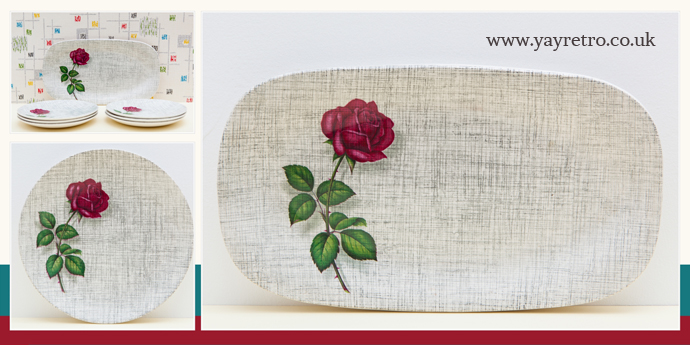 Johnson Bros vintage rose sandwich tray and tea plates from yay retro! online retro china shop