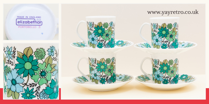 Elizabethan Portobello, Bone China tea cups and saucers in green from yay retro! online shop