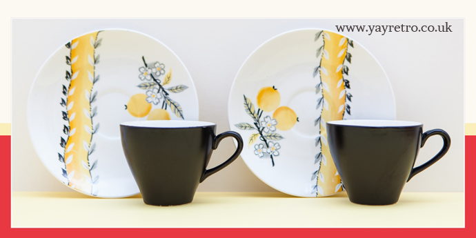 SOL 391413 J&G Meakin Black and yellow coffee cups with lemon blossom designs, for sale at yay retro! online china replacement shop