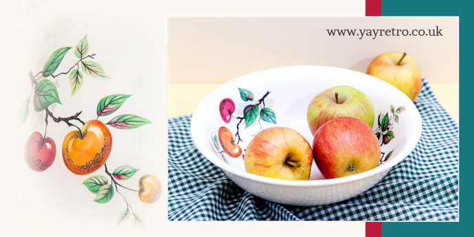Large vintage china bowl with apple decorations from yay retro! online retro china shop