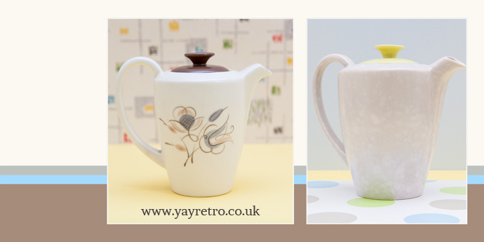 yay retro sell vintage Poole Pottery online, including trudiana and lime yellow coffee pots