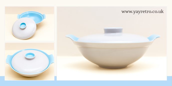 Poole Pottery twintone Sky Blue and Dove Grey Vegetable serving dish from yay retro! online vintage china shop and replacement china service