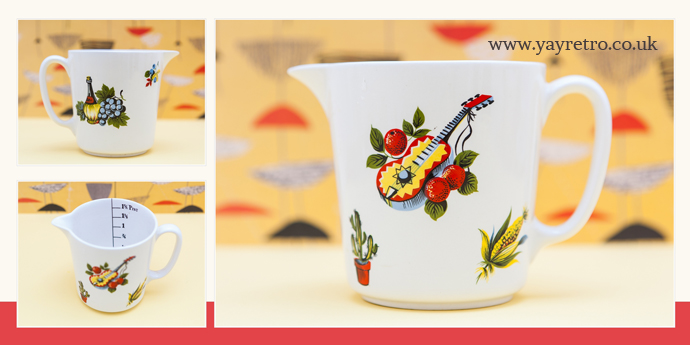 Lord Nelson Pottery Measuring Jug with ukelele on the front, kitsch and fun! from yay retro online replacement vintage china shop