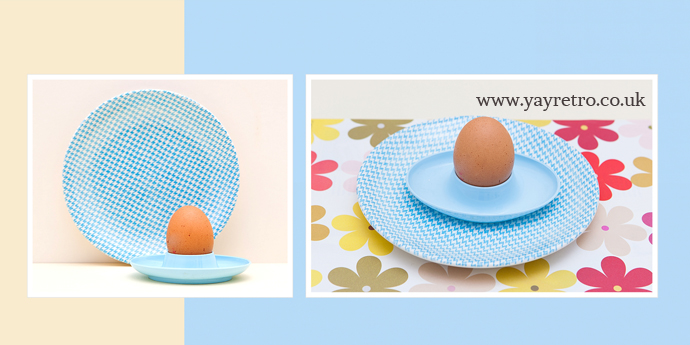 Empire 1960s check plate with 60s egg cup set from yay retro!
