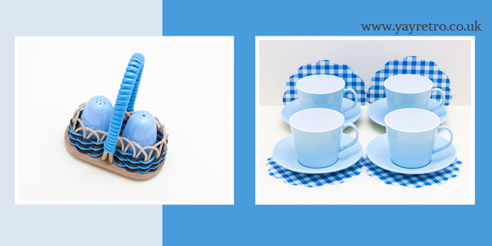 vintage melamine in pale blue from yay retro! online vintage camper and kitchen ware
