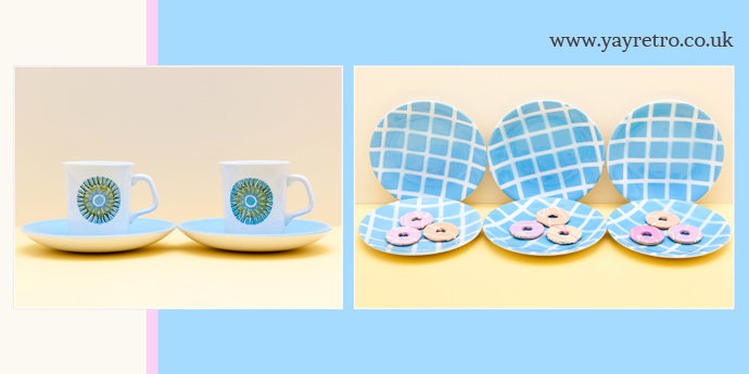 Tams pale blue check tea plates and Meakin Aztec Cups and saucers from yay retro! online vintage china shop
