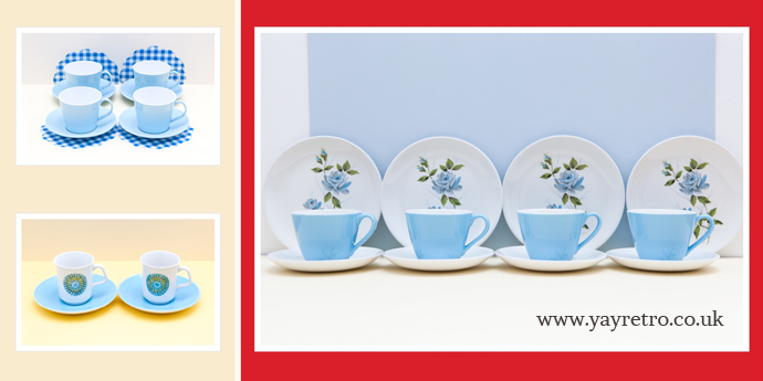 blue, yellow, and green vintage teasets from yay retro! online china shop and replacement china service