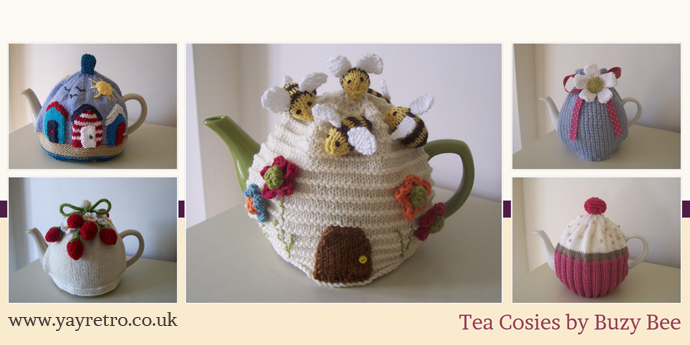 tea cosies made by Buzy Bees feature on yay retro! the vintage china specialists