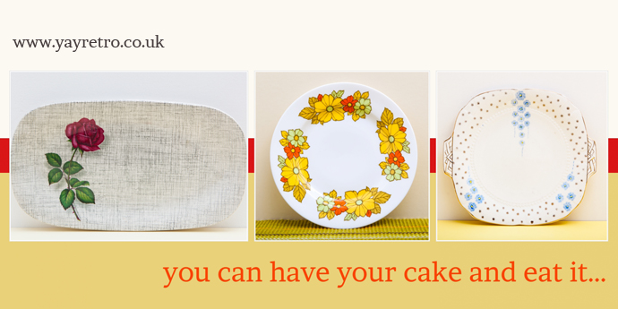 Vintage cake plates from H&K Tunstall, Royal Grafton and Meakin from yay retro!