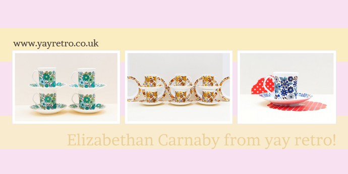 Elizabethan Carnaby tea sets, tea plates, cups and saucers from yay retro! online replacement china shop