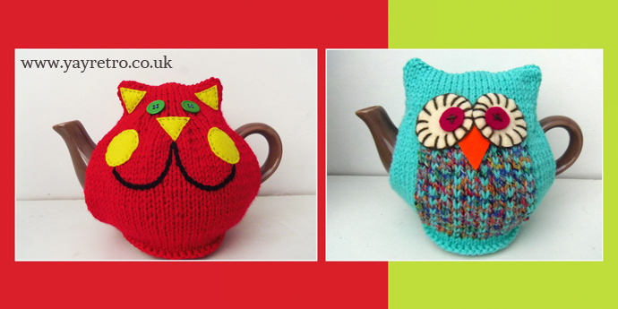 Made by Me Owl and Cat tea cosies feature on yay retro! blog