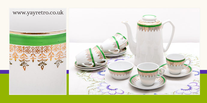 Alfred Meakin vintage green and gold coffee set from yay retro! online china shop
