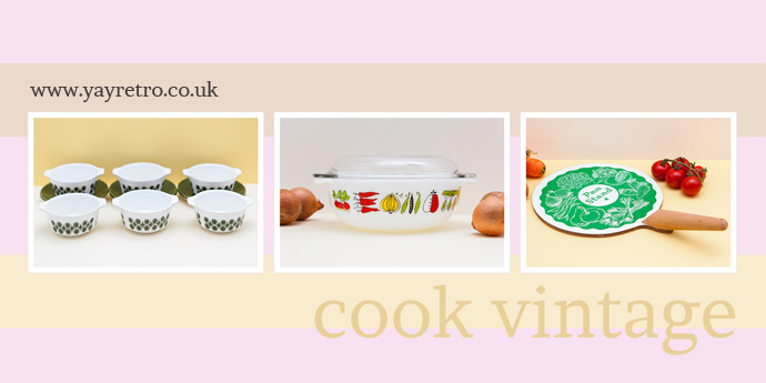 cook with vintage china, melaware and pyrex from yay retro!