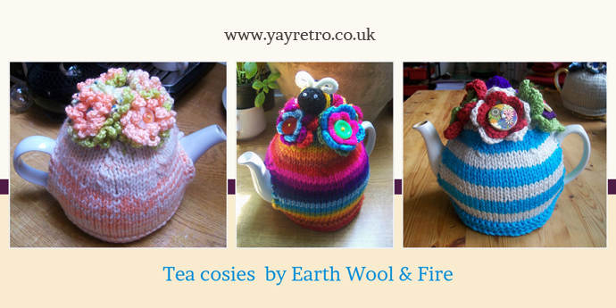 earth wool and fire tea cosies feature on yay retro!s website which sells vintage china