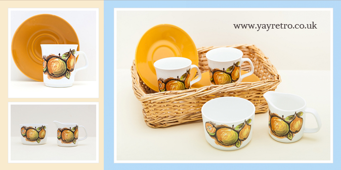 Meakin Eden Cups, saucers, jug and sugar bowl in vintage basket for sale at yay retro!