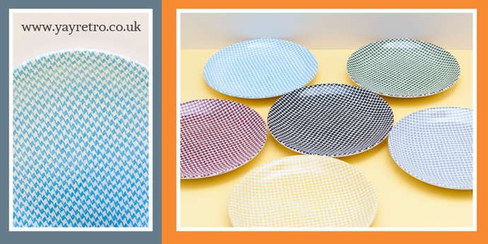 Empire Dogtooth Check 1960s tea plates for sale from yay retro! online china replacement and collectors shop