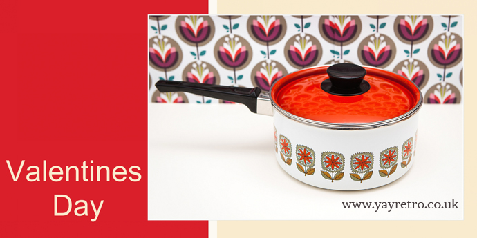 Vintage Floral Enamel Saucepan from yay retro! online kitchenalia and china shop
