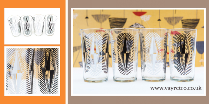 1960s  glassware in balck and white from yay retro!